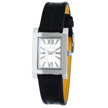 Le Chateau Women's Rectangular Shiny Stainless Steel & Textured Leather Strap Watch (MSRP: $425.00)