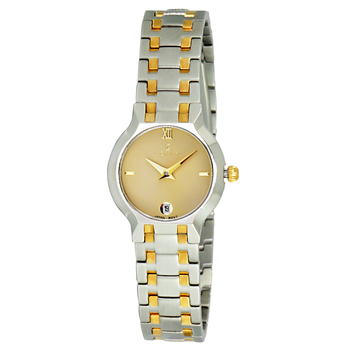 Le Chateau Women's Round Silver and Gold tone, Gold Color Dial-Date Watch, Retail at  (MSRP: $445.00)