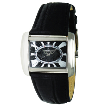 Le Chateau Women's Silver Tone & Black, Curved Crystal, Stainless Steel & Leather Watch,  Retail at  (MSRP: $425.00)