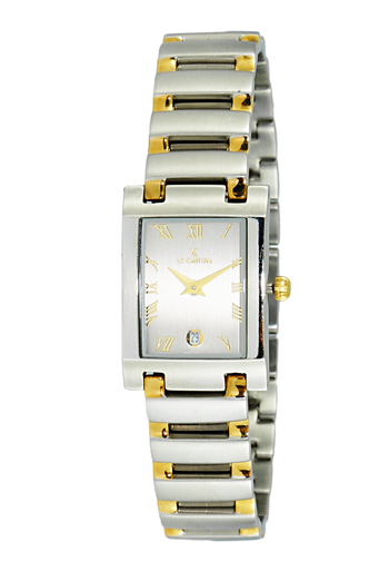 Le Chateau Women's Stainless Steel 2 Tone Silver Gray Dial-Date Watch,  LC144-2TG-GY  (Retail at MSRP: $ 445.00)
