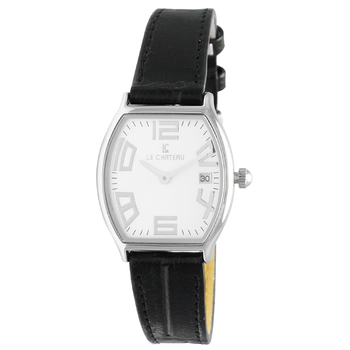 Le Chateau Women's Tonneau Arabic Numerals, Stainless Steel & Textured Leather, Date Watch (MSRP: $425.00)