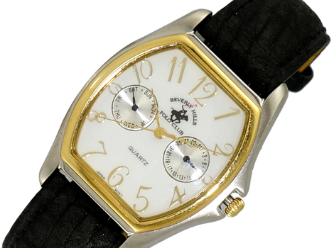 LeChateau 2-TONE CASE STAINLESS STEEL, DAY-DATE DIAL, GENUINE LEATHER BAND, LCP-B111A, Retail at (MSRP: $299.00