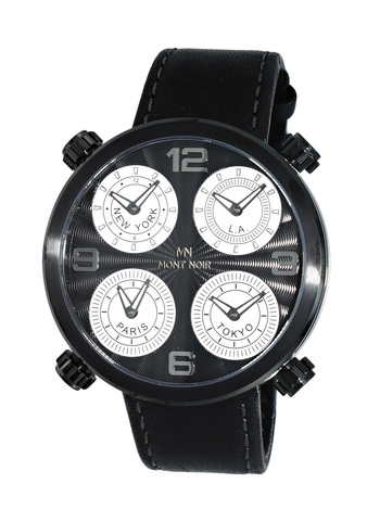 LeChateau 4-TIME ZONE WATCH, DOUBLE LAYER DIAL, GENUINE LEATHER BAND, MN3333-MIPBK, RETAIL AT $525.00