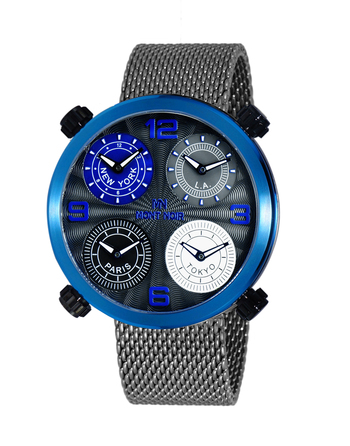 LeChateau 4-TIME ZONE WATCH, DOUBLE LAYER DIAL, GENUINE LEATHER BAND, MN3333-MIPBU/ GUN-MESH, RETAIL AT $625.00