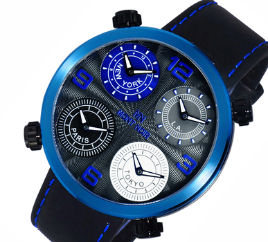 LeChateau 4-TIME ZONE WATCH, DOUBLE LAYER DIAL, GENUINE LEATHER BAND, MN3333-MIPBU, RETAIL AT $525.00