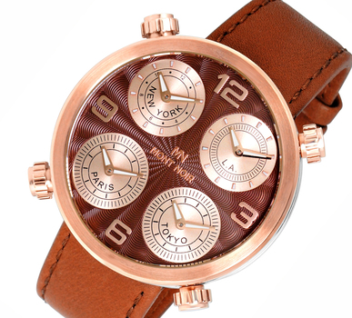 LeChateau 4-TIME ZONE WATCH, DOUBLE LAYER DIAL, GENUINE LEATHER BAND, MN3333-MRG/BN, RETAIL AT $525.00