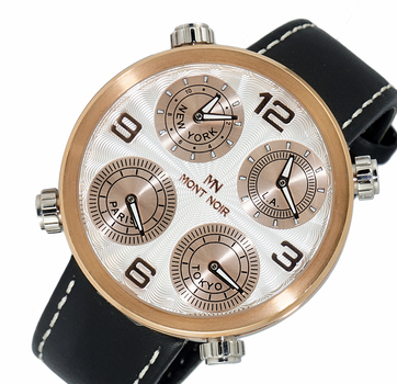 LeChateau 4-TIME ZONE WATCH, DOUBLE LAYER DIAL, GENUINE LEATHER BAND, MN3333-MRGSV, RETAIL AT $525.00