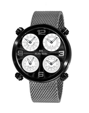 LeChateau 4-TIME ZONE WATCH, DOUBLE LAYER DIAL, STAINLESS STEEL MESH  BAND, MN3333-MIPBK/ GUN-MESH, RETAIL AT $625.00