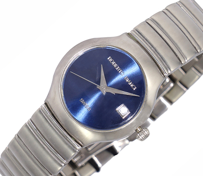 LeChateau (Bianci) Ladies Swiss 24 mm Silver Tone & Blue Sunray Dial All Stainless Steel Date Watch ,Retail at (MSRP: $495.00)