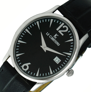 LeChateau, Date - 2 Hand Dial, Stainless Steel & Case, Genuine Band, LC2672-LBK (MSRP: $200.00)