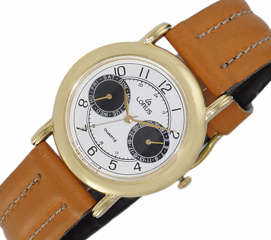 LeChateau, Day-Date - 2 Hand Dial,  Genuine Leather Band, LCL6140-MGBKBK_BN - (MSRP: $299.00)