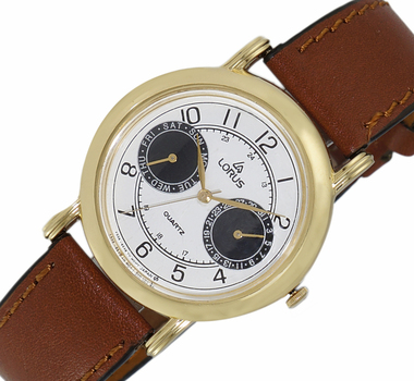 LeChateau, Day-Date - 2 Hand Dial,  Genuine Leather Band, LCL6140-MGBKBK_DRBN - (MSRP: $299.00)