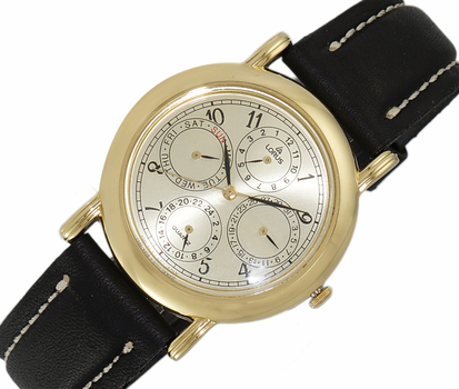 LeChateau, Day-Date - 2 Hand Dial,  Genuine Leather Band, LCL6140-MGG_BK - (MSRP: $299.00)
