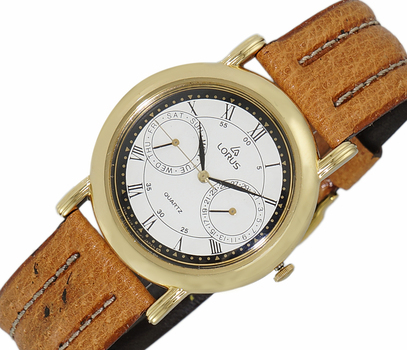 LeChateau, Day-Date - 2 Hand Dial,  Genuine Leather Band, LCL6140-MGWTBK_BN - (MSRP: $299.00)