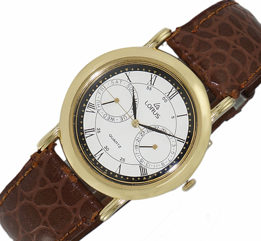 LeChateau, Day-Date - 2 Hand Dial,  Genuine Leather Band, LCL6140-MGWTBK_DBN - (MSRP: $299.00)
