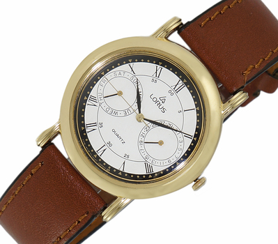 LeChateau, Day-Date - 2 Hand Dial,  Genuine Leather Band, LCL6140-MGWTBK_DRBN - (MSRP: $299.00)