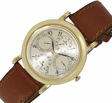LeChateau, Day-Date - 2 Hand Dial,  Genuine Leather Band,LCL6140-MGG_DRBN - (MSRP: $299.00)