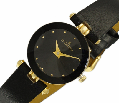LeChateau, Faceted Crystal  - 2 Hand Black Dial, Gold tone Case and Genuine Leather Band, LC1012-LGBK - (MSRP: $299.00)