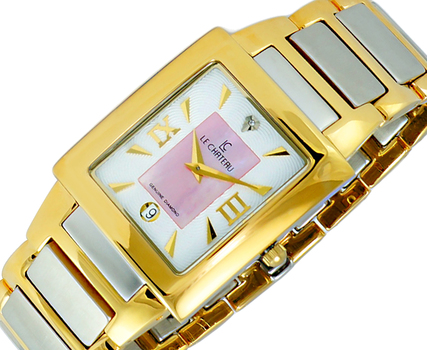LeChateau Ladies Watch Genuine Diamonds Indicator - 3 Hands Dial (Brand New), LC1816-MGWT -  RETAIL at  $350.00