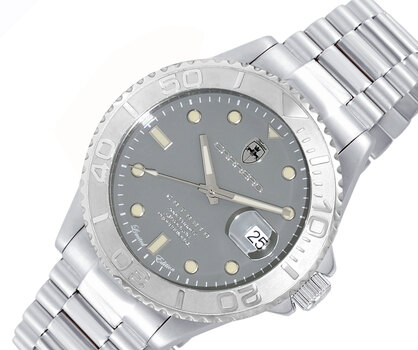LeChateau Men's Automatic - Magnifying Date Dial with Exhibition Back case - LC2S255SV - Retail at (MSRP: $ 2,124.00)