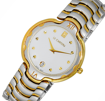 LeChateau Mid-Size 2-tone Stainless Steel Case and Band, White Date Dial, LC121SS-L2TG-WT - RETAIL AT $499.00.