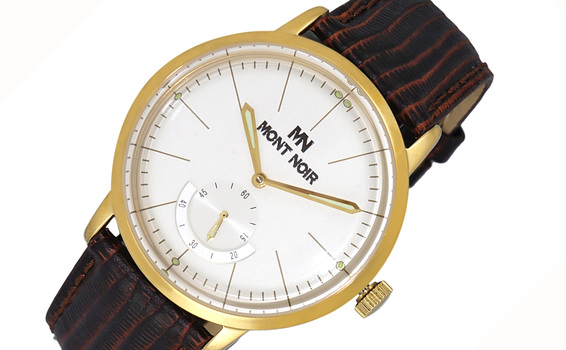 LECHATEAU (MONT NOIR) - 21 JEWELS AUTOMATIC MECHANICAL MOV'T. GENUINE LEATHER BAND, MN9044-MG/WT, RETAIL AT $560.00