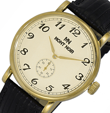 LECHATEAU (MONT NOIR) AUTOMATIC MOVEMENT, MENIRAL CRYSTAL, GENUINE LEATHER BAND, MN9061-MGG-BK, RETAIL AT $495.00