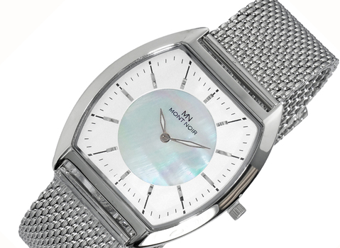 LECHATEAU (MONT NOIR) SLIM WATCH, MOTHER OF PEARL DIAL, MN2200-MWT-MESH, RETAIL AT $245.00