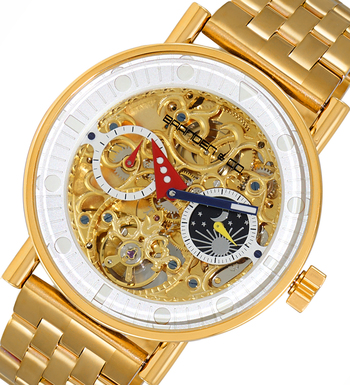 LeChateau Skeleton Automatic -21 Jewels Movement , Sun and Moon Phase, LCBC3332-MG, Retail at $750.00