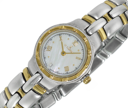 LECHATEAU, STAINLESS STEEL 2-TONE GOLD, MOP DATE DIAL , LC2618-L2TWT -   RETAIL AT $399.00