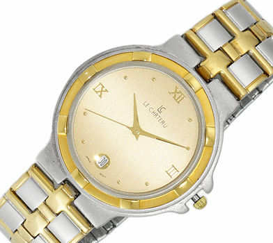 LECHATEAU, STAINLESS STEEL 2-TONE GOLD, SUN-RAY DATE DIAL , LC2022-M2T-GO -   RETAIL AT $399.00