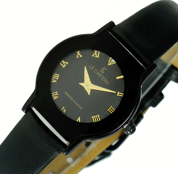 LeChateau Women's, 2 Hand Stainless Steel & Case, Genuine Leather Band, LC1114-LIPBK-GO - (MSRP: $299.00)