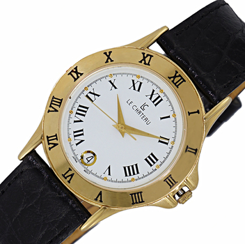 LeChateau Women's Mid Size Gold Tone and Black, Stainless Steel & Leather Watch, LC2155-MGBK - Retail at (MSRP: $395.00)