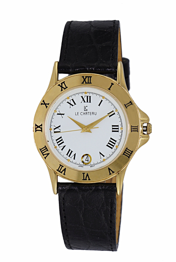 LeChateau Women's Mid Size Gold Tone and Black, Stainless Steel & Leather Watch, Retail at (MSRP: $395.00)