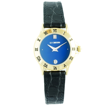 LeChateau Women's Round, Bezel Inscribe Roman Numerals, Stainless Steel & Textured Leather Watch (MSRP: $425.00)