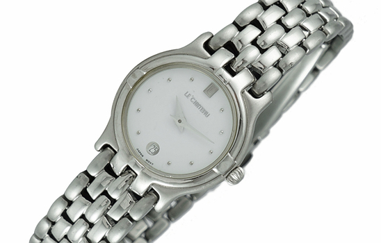 LeChateau Women's, Stainless Steel & Day-Date White Dial LC1001-LSV - (MSRP: $299.00)