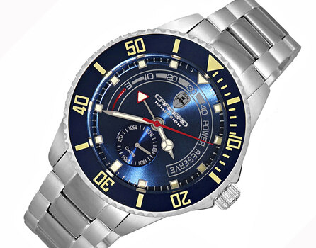 Lechateau-TC Automatic- Power reserve, Sunray dial, Date counter, Exhibition band, CS11BUBU,  Retail at (MSRP: $2,604.00)