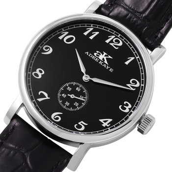 MECHANICAL MOVEMENT, MINERAL CRYSTAL, GENUINE LEATHER BAND, AK9061-MBK,  RETAIL AT $495.00