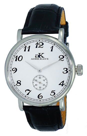 MECHANICAL MOVEMENT, MINERAL CRYSTAL, GENUINE LEATHER BAND, AK9061-MSV,  RETAIL AT $495.00