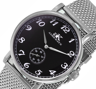 MECHANICAL MOVEMENT, MINERAL CRYSTAL, MESH BAND STAINLESS STEEL, AK9061-MBK-MESH -  RETAIL AT $495.00