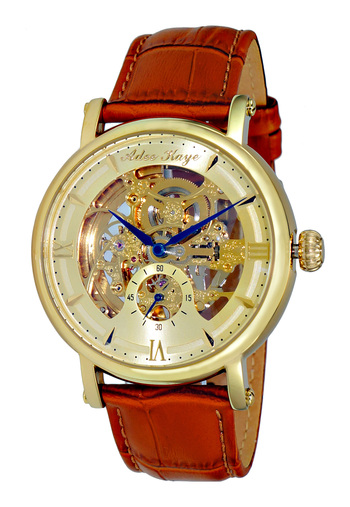 MECHANICAL MOVEMENT, SKELETON DIAL, GENUINE LEATHER BAND, AK8895-MD , RETAIL AT $700.00
