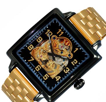 Men's 20 Jewel Skeletal Automatic Stainless Steel Bracelet , AK8022-MBG-IPGBKGO - Retail at $495.00