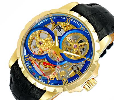 Men's 48mm Mechanical 18-Jewels  Skeletonized Dial Leather Strap Watch, AK5664-MGBU, Retail at $800.00