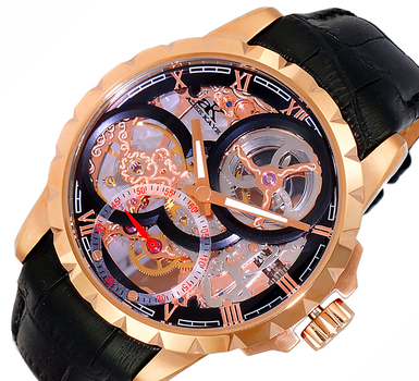 Men's 48mm Mechanical 18-Jewels  Skeletonized Dial Leather Strap Watch, AK5664-MRGBK, Retail at $800.00