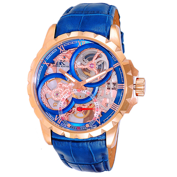 Men's 48mm Mechanical 18-Jewels  Skeletonized Dial Leather Strap Watch, AK5664-MRGBU, Retail at $800.00