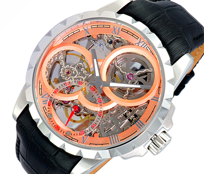 Men's 48mm Mechanical 18-Jewels  Skeletonized Dial Leather Strap Watch, AK5664-MSVRG, Retail at $800.00