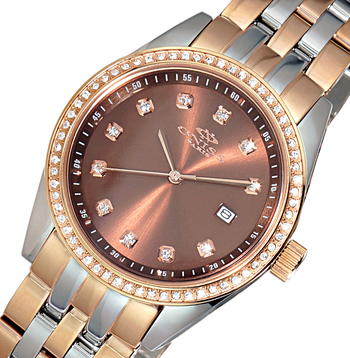 MID-SIZE AUSTRIAN CRYSTAL ACCENT,  ROSETONE CASE AND BAND, ONISS ON6668-L2T , RETAIL AT $475.00