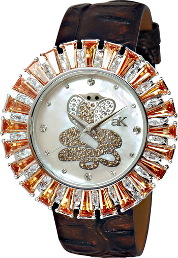 Mother of Pearl Dial, Yellow Accented Austrian Crystal, AK9-46LMOP/SNAKE/ORG, Retail at $350.00