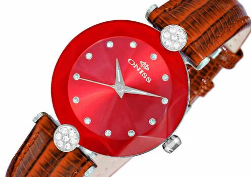 ONISS AUSTRIAN CRYSTAL ACCENT, GENUINE LEATHER BAND, FACETED MINERAL CRYSTAL, ON8776-LRD_BN, RETAIL AT (MSRP: $345.00)