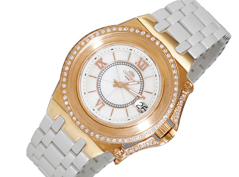 ONISS SWISS MOVEMENT, HIGH-TECH CERAMIC, MOP DATE - DIAL, ON669-LRG/WTN, RETAIL AT (MSRP:  $825.00)